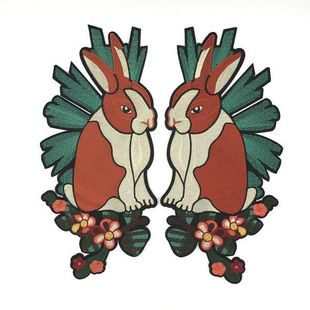 Fashion color rabbit embroidery cloth stickers NHLT148228's discount tags
