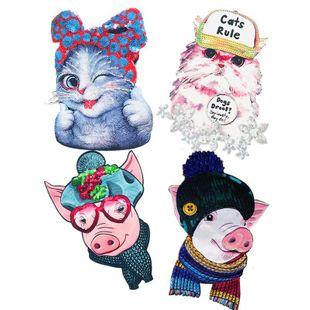 Cartoon cat pig head sequin cloth NHLT148244's discount tags