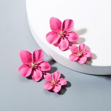Womens Floral Paint Alloy Earrings NHLN148250