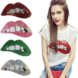 Fashion bright sequins lips cloth embroidered patch NHLT148263's discount tags