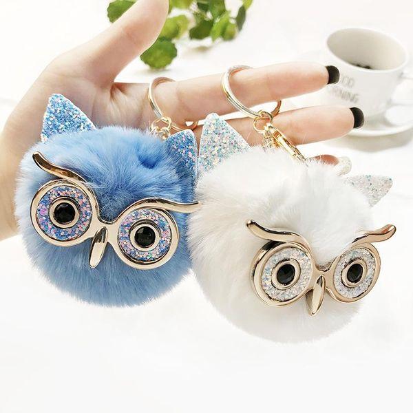 Creative new rhinestone-studded owl imitation rabbit hair ball keychain NHCB148266