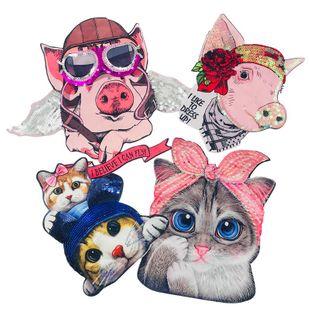 Cartoon pig print short sleeve digital print cloth sticker NHLT148295's discount tags