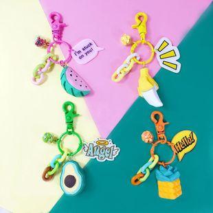 Creative fruit resin metal car keychain NHBM148307's discount tags