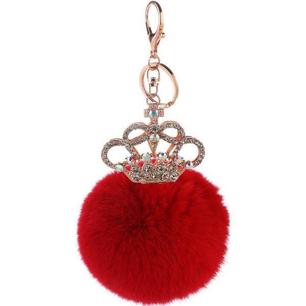 Creative gift crown key ring rex rabbit hair ball pendant NHMM148348