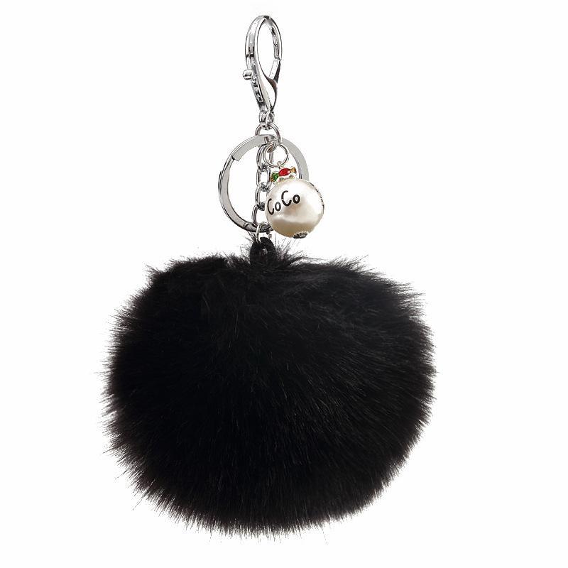 Fur accessories beads pendant imitation rabbit hair ball keychain NHMM148363