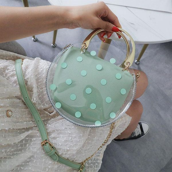 Fashion transparent jelly shoulder portable small round bag NHPB148457