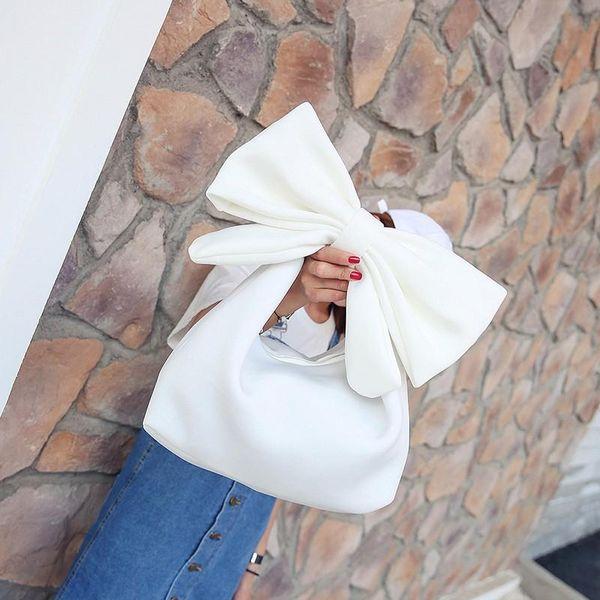Cute bow one shoulder solid color handbag NHPB148513
