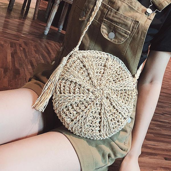 Tide personality straw braided small round bag NHTC148578