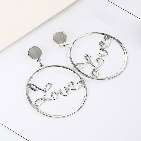 Simple alloy geometry LOVE earrings NHPF148582