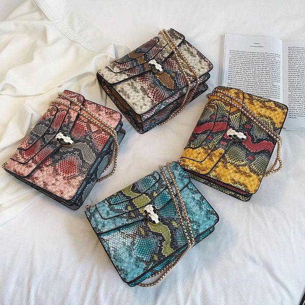 Snakeskin style portable Messenger bag NHPB148673