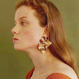Simple new lava metal geometric irregular stud earrings NHPF148718's discount tags