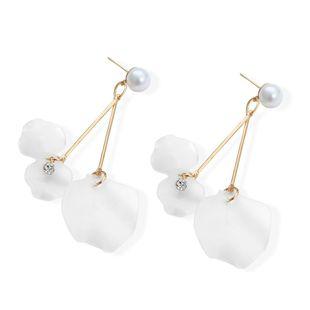 Simple white flower rhinestone beads earrings NHPF148723's discount tags