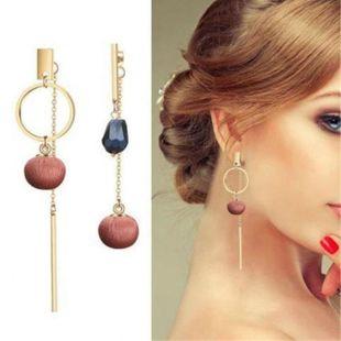 Fashion Geometry Ball Round Cut Sapphire Earrings NHPF148725's discount tags