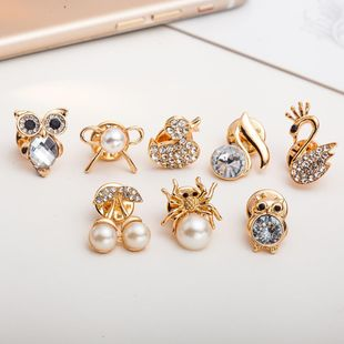 New rhinestone-studded owl swan cherry small brooches NHDP148727's discount tags