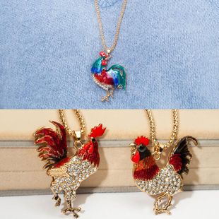 New rhinestone-studded flying chicken long necklace NHDP148729's discount tags