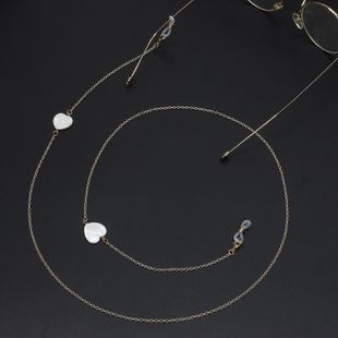 Simple new handmade white heart-shaped shell glasses chain NHBC148736's discount tags