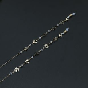 Alloy Rose Imitated crystal Handmade Glasses Chain NHBC148744's discount tags