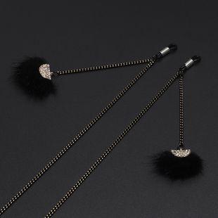 Fashion simple black feather rhinestone pendant glasses chain NHBC148746's discount tags