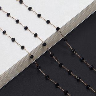 Fashion simple handmade black imitated crystal glasses chain NHBC148761's discount tags