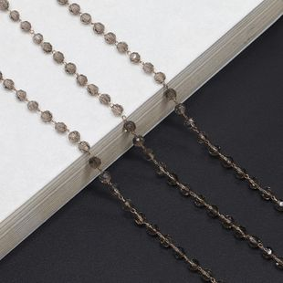 Stylish and simple handmade gray imitated crystal glasses chain NHBC148763's discount tags