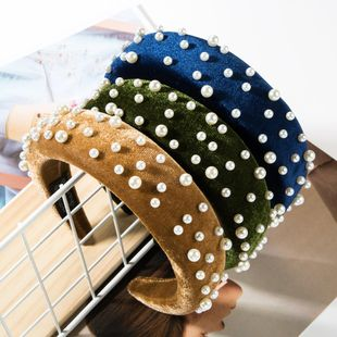 New fashion solid color alloy velvet sponge beads headband NHJE148768's discount tags