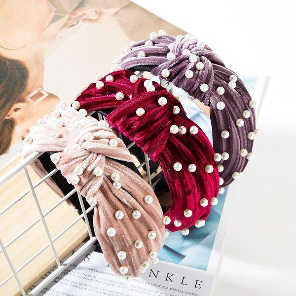 Fashion solid color horizontal stripes alloy velvet beads headband NHJE148770