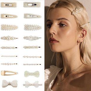 Fashion simple beads hair clip BB clips NHPF148775's discount tags