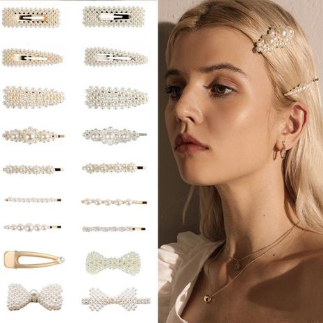 Fashion simple beads hair clip BB clips NHPF148775's discount tags