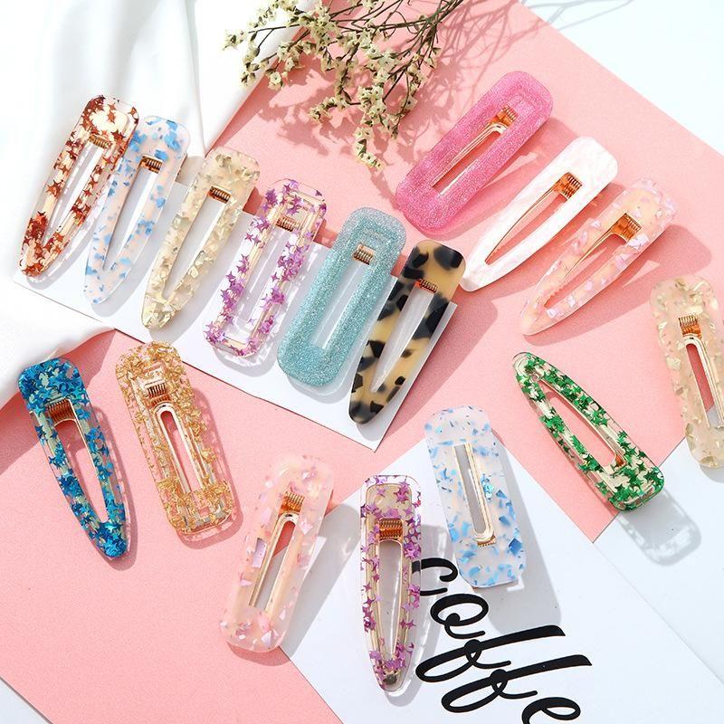 New acrylic alloy foil sweet hair clips NHPF148781