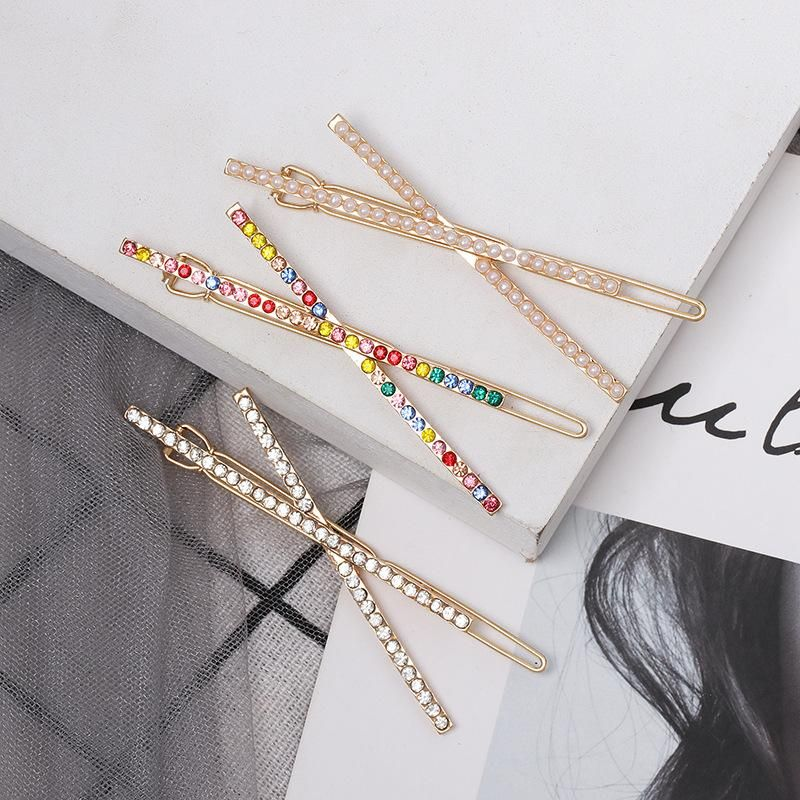 New hairpins with rhinestones letter X sweet hair clips NHJJ148783