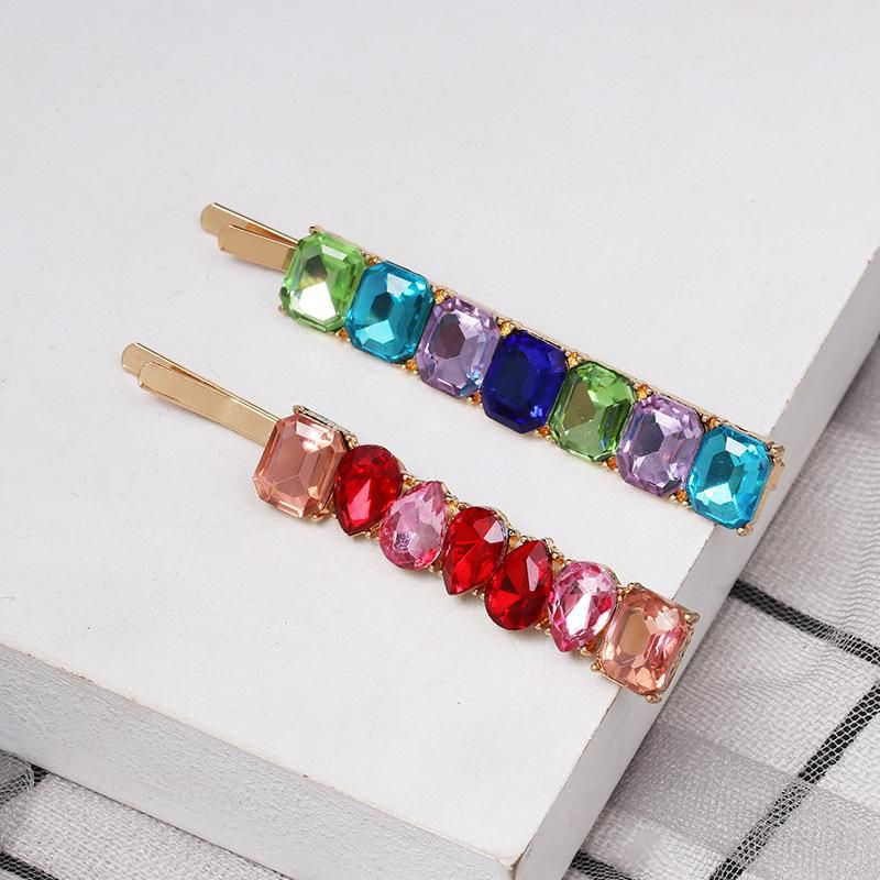 Simple colored rhinestone hair clips NHJJ148804