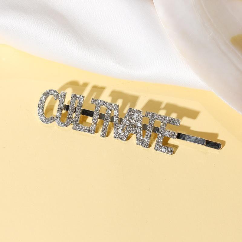 Fashion English letters CULTIVATE rhinestone hair clips NHDP148806