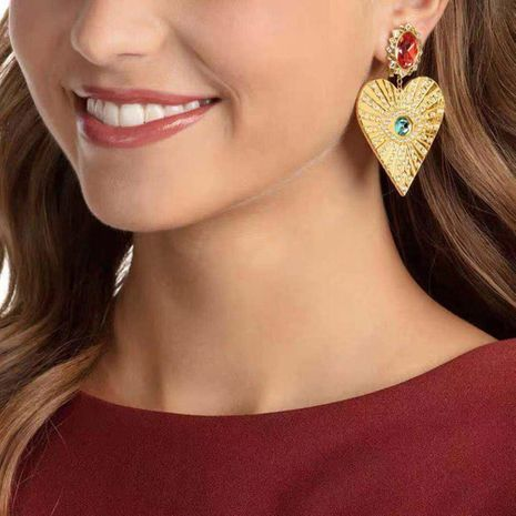 Boucles d'oreilles strass en forme de coeur oeil de diable mode NHMD139653's discount tags