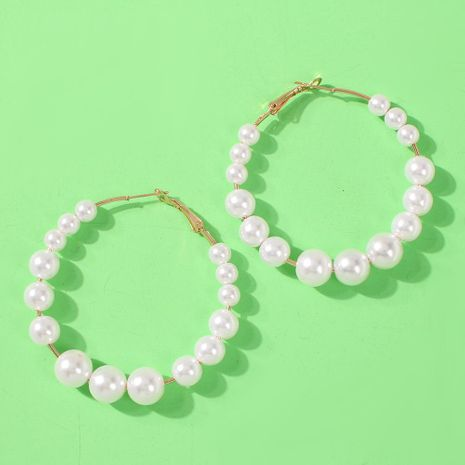 Simple beads round ring handmade earrings NHMD139663's discount tags