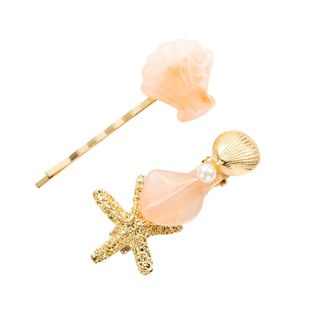 Beach wind alloy resin starfish shell hairpin set combination NHYT139695's discount tags