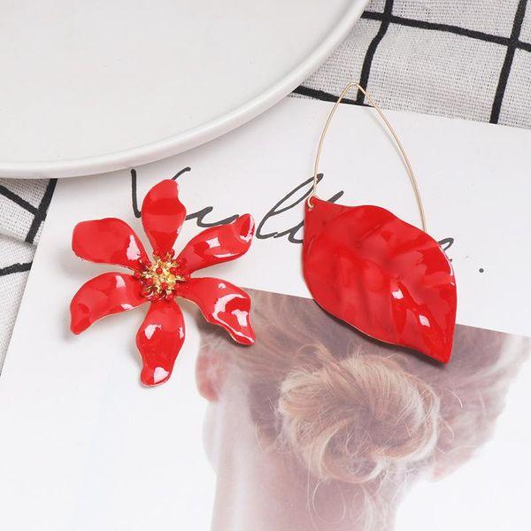 Womens Leaf Flower Drop Oil Alloy Earrings NHJJ139738