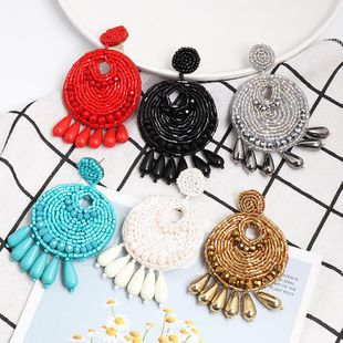 European and American geometric imitated crystal rice beads national wind earrings NHJJ139752's discount tags