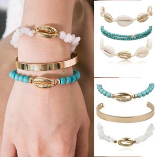 Creative rough stone shell metal C-shaped bracelet NHXR139756's discount tags