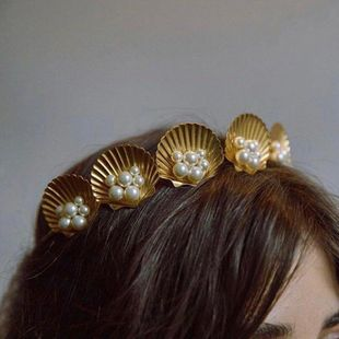 Creative seaside holiday shell alloy headband NHMD139762's discount tags