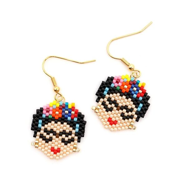 Stylish and simple rice beads woven earrings NHGW139764