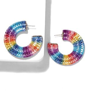 Fashion ethnic style colorful fan-shaped C-shaped hand-woven earrings NHJQ139840's discount tags