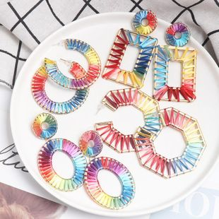 Hollow alloy dyed colored Raffia woven earrings NHJJ139857's discount tags