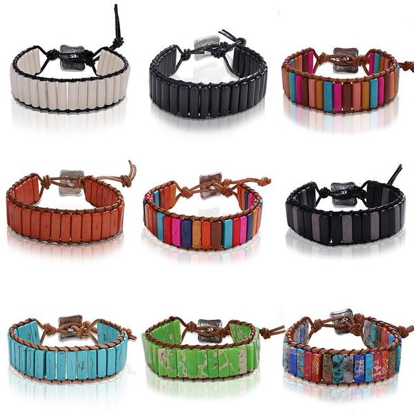 Colored emperor stone hand-woven leather bracelet NHJQ139882