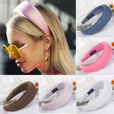 New solid color bright silk sponge wide headband NHHV139909's discount tags