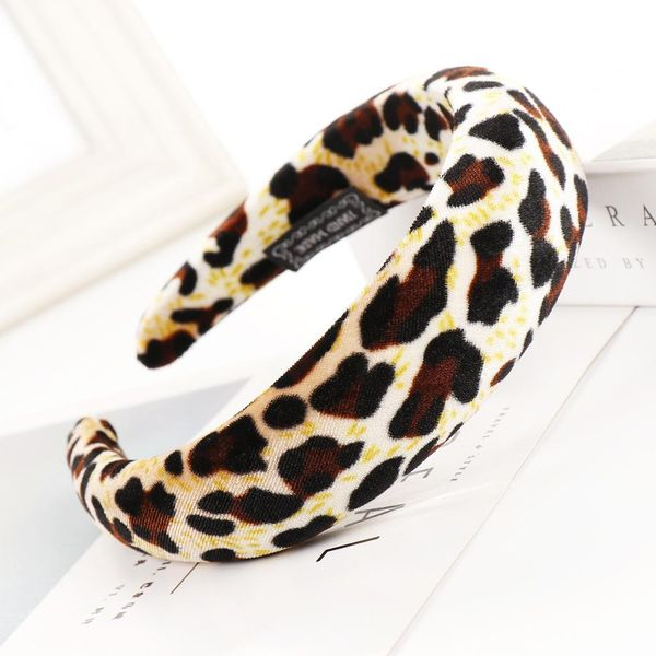 New leopard alloy velvet sponge wide headband NHHV139912