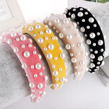 New solid color alloy velvet bead sponge wide headband NHHV139913's discount tags