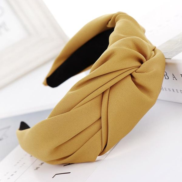 New solid color cloth knotted wide headband NHHV139914