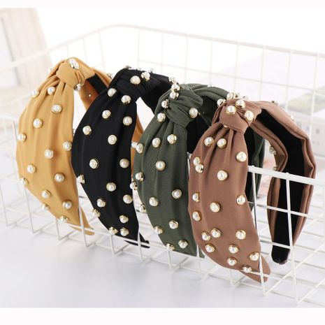 New solid color cloth beads wide headband NHHV139917's discount tags