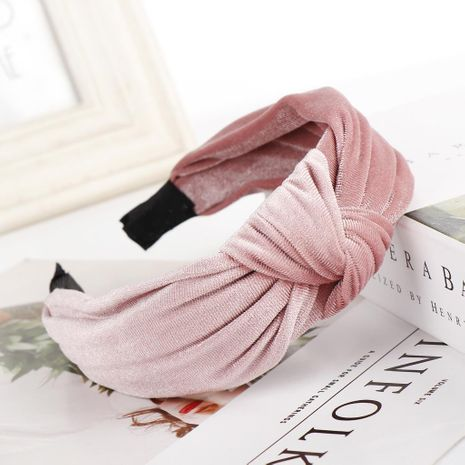 New solid color alloy velvet knotted wide headband NHHV139923's discount tags