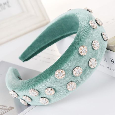 New solid color alloy velvet bead sponge wide headband NHHV139931's discount tags